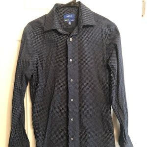 Apt. 9 Slim Fit Button Down- Navy with Dots